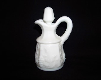 Vintage Westmoreland Glass Paneled Grape White Milk Glass Cruet