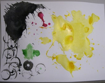 Abstract Yellow, Black, Green, and Red India Ink Watercolor Painting - Original