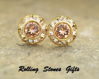 9mm Light Peach Gold Swarovski Surrounds Rhinestone Stud Earrings-Light Peach Crystal Studs-Bridesmaid Crystal Earrings-Wedding Studs