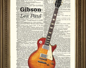"""GIBSON ELECTRIC GUITAR: Dictionary Page Art Print Vintage Les Paul (8 x 10"""")"""