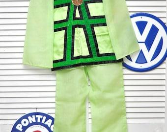 Vintage 70's Girls Costume Pantsuit Two Piece Top & Pants Asian Oriental Geisha Theme Dance Theater Handmade OOAK Chartreuse Green size 7