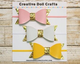 Doll Bow Headband, Doll Hair Bow, Doll Hair Accessory, Doll Glitter Bow, Doll Headband, Pink Doll Bow, White Doll Bow, Yellow Doll Bow