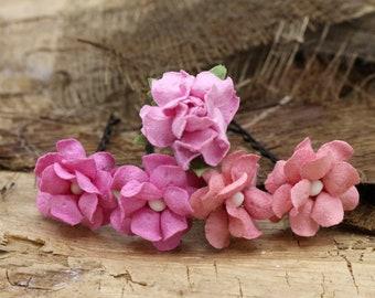 Pink Flower Hairpins, Mulberry Paper Flower Hair Pins , Bridal Hair Pins, Hair Bobby Pins,Prom,Bridal Hair Accessories (FL352)