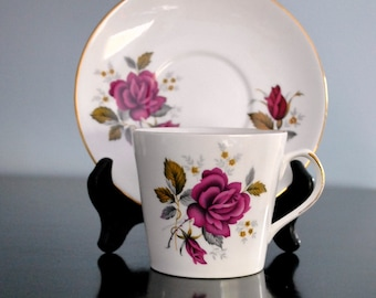 Vintage Royal Dover English Cup and Saucer with Roses