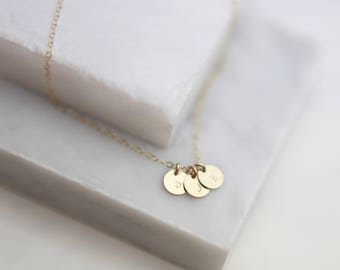 Personalized Mini Disk Tag Initial Necklace // Monogram & Name Necklace // Dainty Custom Engraved //  EP004