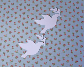 Set of 9 cuts cardstock white shaped Dove for your creations