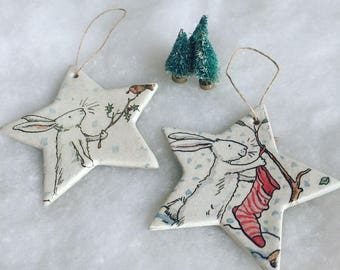 One Snow Bunny Decoupage solid ceramic hanging star decoration // Christmas decoration // Christmas tree decoration //