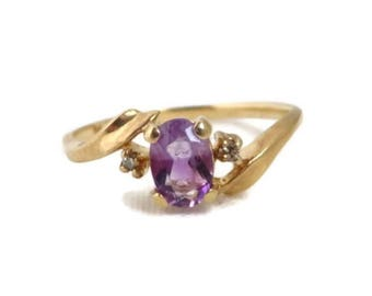 Amethyst Ring, Gold Ring, Diamond Ring, Solid Gold Ring, Antique Ring, February Birthstone, Statement Ring, Cocktail Ring, Engagement Ring