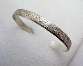 Cuff Bracelet Floral Pattern Sterling Silver