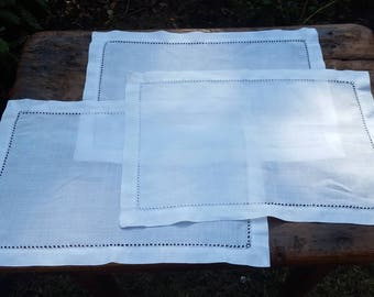 White Linen Placemats with Hemstitch