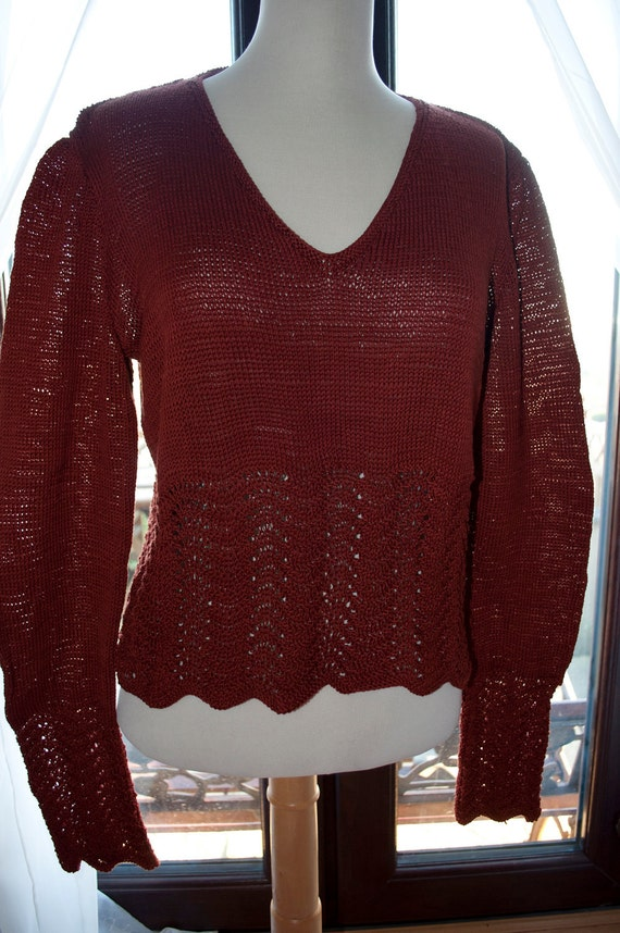 Handknitted Cotton Jumper in Rust with Lace Edging