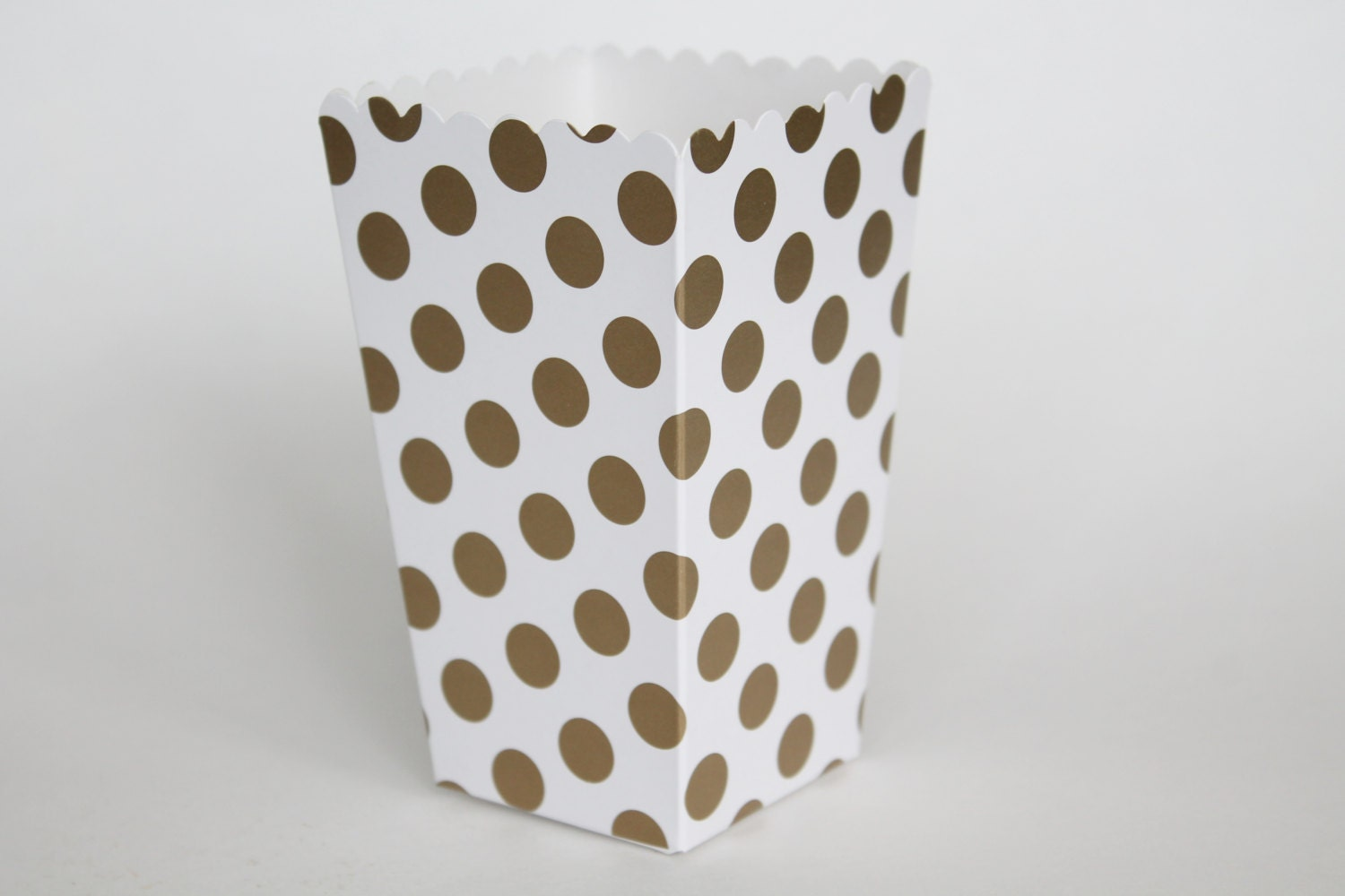 Gold Polka Dot Popcorn Box-Pop Corn Scoop-Gold Favor Box-Party
