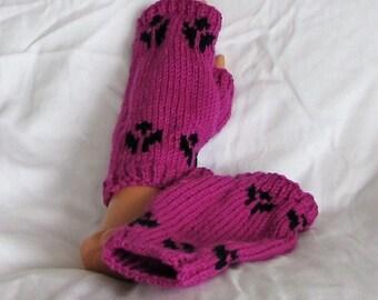 Handwarmers, fingerless gloves, Rhinebeck Wristers, Free ship USA,  fuschia, black, handmade, knits, accessories