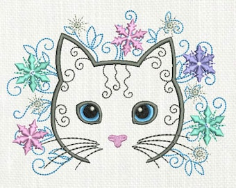 Cat Embroidery design Snowflakes Cat Machine AN018