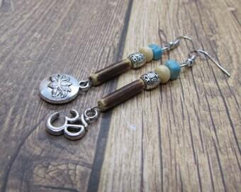 LOTUS FLOWER & OM Mix Match Earrings, Zen Earrings, Namaste Earrings, Mantra Earrings, Tranquility Earrings, Gifts for Yogi,