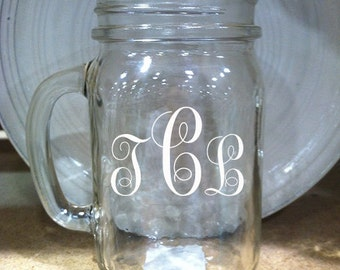 16 oz Mason Jar | Personalized Monogram