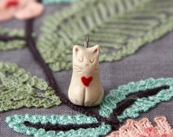 Miniature Kitty Cat Ceramic Charm - Red Heart - Cat Lovers Gift - READY TO SHIP