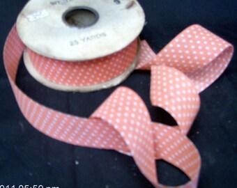 White Dot Brand Ribbon - Orange with White Polka Dot Color