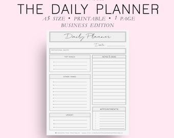 A5 Size Business Daily Planner, Daily Planner Printable, Daily Planner Pages, Daily Planner Inserts, Everyday Planner, Diy Planner