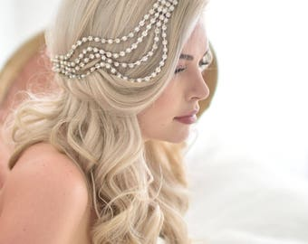 Unique Wedding Veil Alternative, Modern bridal headpiece, Ripple Head piece, modern unique contemporary vintage comb fascinator 1920s 201 2
