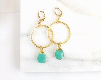 Statement Earrings with Aqua Chalcedony Teardrops and Hoops. Long Stone Earrings. Gold Statement Earrings. Jewelry Gift.
