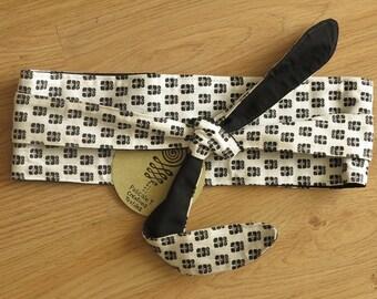 black and white Obi style belt