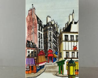 Oil on canvas, Paris Street and shopping at the beginning of 20th century, bright colors, signed Koberk 1977
