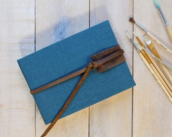 Linen and Leather Watercolor Sketchbook - Personalized Natural Linen with Rustic Vintage Style Distressed Leather Tie