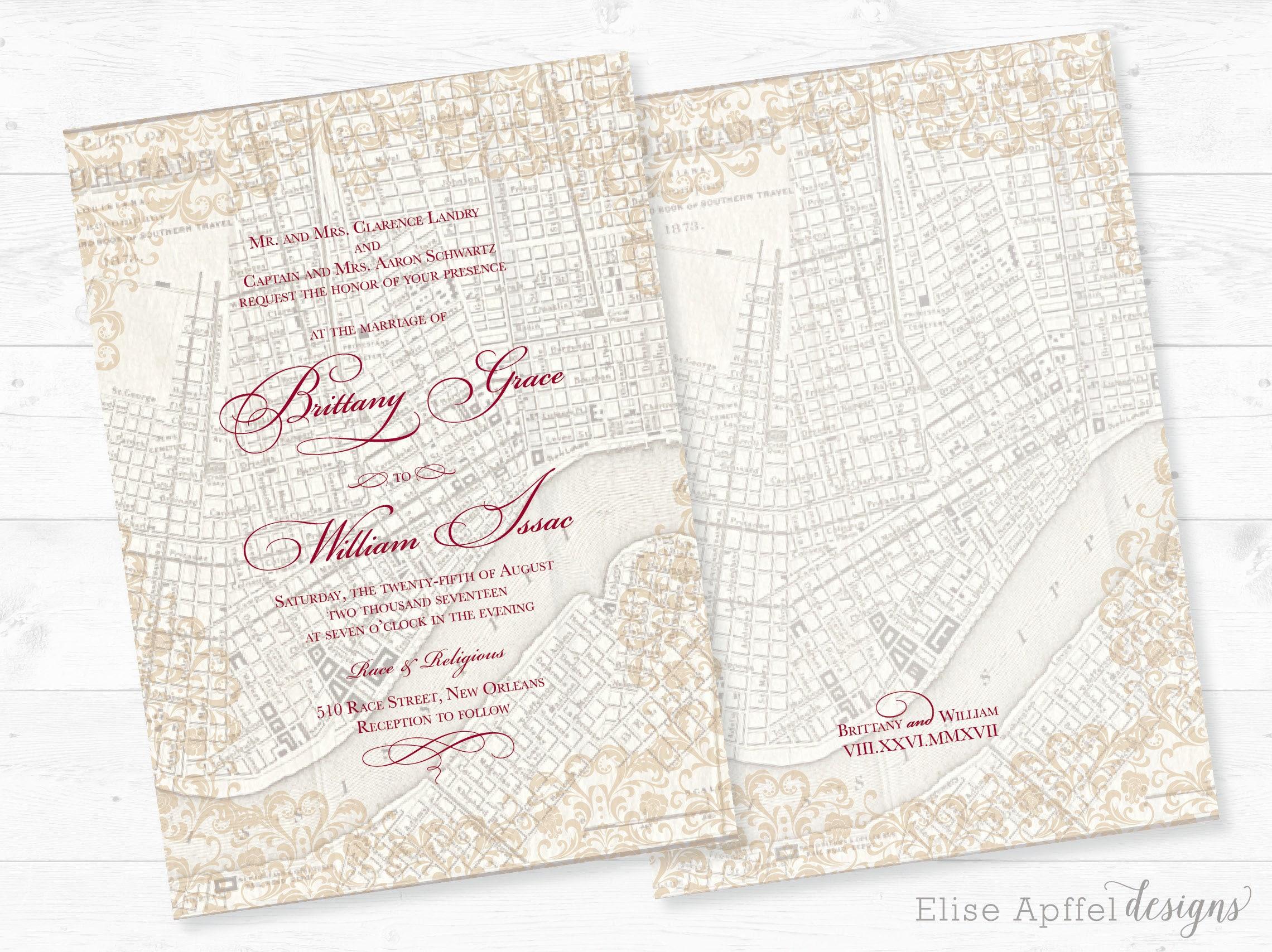 New Orleans Wedding Invitation New Orleans Vintage Map