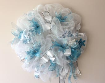 Frozen Blue Winter Wreath, Christmas Deco Mesh Wreath, Snowflake Wreath, Door Wreath, New Year's Wreath, Christmas Decoration