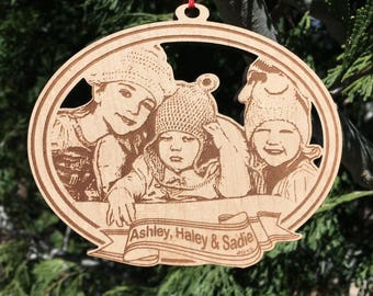 """5 """" Custom photo ornament - laser cut and etched wood"""