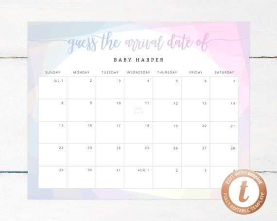 Due Date Calendar Template Baby Shower Calendar Baby Due