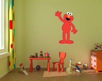 Elmo Wall Decal Stickers, Bedroom Wall Murals, Sesame Street Wall  Mural,Nursery Wall Designs,Murals,Muppets, Big Bird,Elmo,PBS Kids