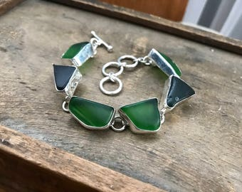 Sterling silver beach glass bracelet