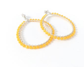 Silver hoop earrings with wire-wrapped yellow czech-glass beads // gifts for her // birthday gifts // statement earrings // large hoops