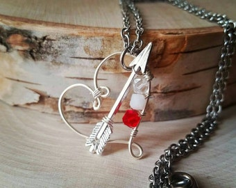 cupids arrow - Wire heart necklace - crystal heart jewelry - wire heart pendant - silver wire wrapped heart - wire heart jewelry - heart
