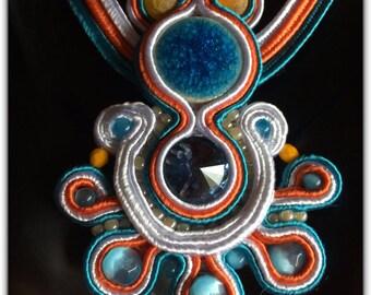 Soutache pendant and its blue, orange, white necklace, handmade