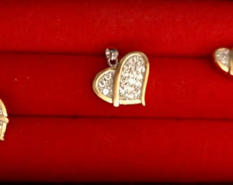 14 K Gold Plated Silver Heart Shape Earrings and Pendant Set