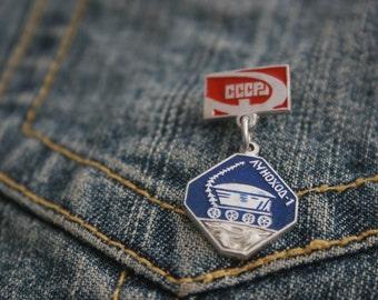 70s Soviet Era Spacewalk Pin Badge Soviet Collectible