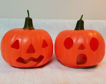 Two Vintage Halloween Jack-O-Lantern Candles by Gurley Candle Company Pumpkin Candles for Halloween