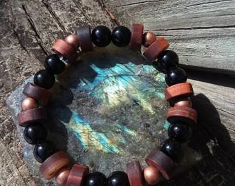 Tigers Eye Bracelet, Red Tigers Eye, Black Onyx Bracelet, Gemstone Bracelet, Beaded Bracelet, Black Onyx, Healing Jewelry, Tigers Eye