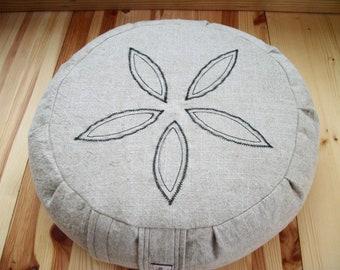 "Meditation Cushion. Zafu. Round Floor Pillow. Buckwheat Hulls. Machine stitched Sand Dollar. 15""dia.x5""H. SidewallVelcro Closure.HandmadeUSA"
