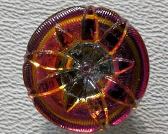 CZECH GLASS BUTTON: 18mm Handpainted Czech Glass Lotus Blossom Button, Pendant, Cabochon (1)