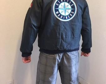 Vintage SEATTLE MARINERS Bomber Jacket, Mens Leather Jacket, Baseball Bomber Jacket, Seattle Mariners