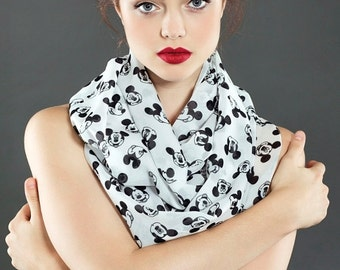 Walt Disney Mickey Mouse pattern print unique Infinity scarf Scarves Gift for her Fall Winter Fashion birthday wife gift Black Friday