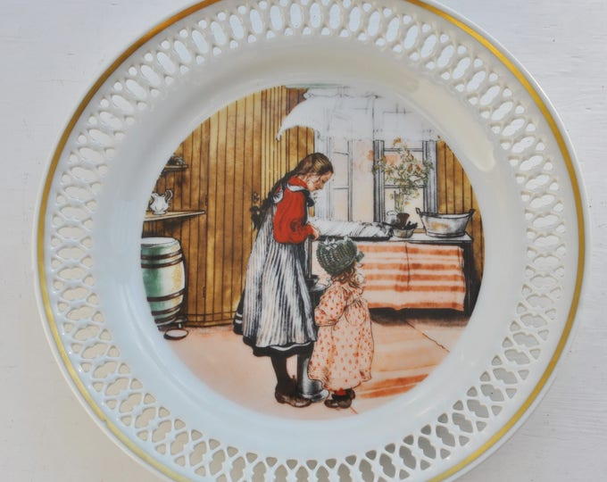Vintage Bing & Grondahl Carl Larsson Plate The Kitchen Collectible Gold Trim
