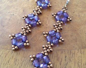 Beaded Long purple earrings, purple earrings, purple czech earrings, purple glass bead earrings, purple beadwoven earrings, beadwork EBW
