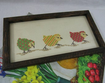 Vintage Framed Cross Stitch Baby Chicks Fiber Art Wall Hanging Farmhouse Nursury Decor