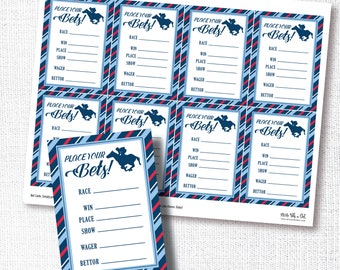 Race Bet Card, Printable, Horse Betting, Place Your Bets, Digital File, Kentucky Derby Party, Bettor, Download, Pool