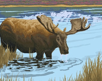 Whitefish, Montana - Moose Drinking - Lantern Press Artwork (Art Print - Multiple Sizes Available)